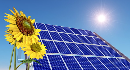electricity prices: Solar panel and sunflowers Stock Photo