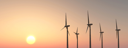 cloudless: Wind turbines at sunset