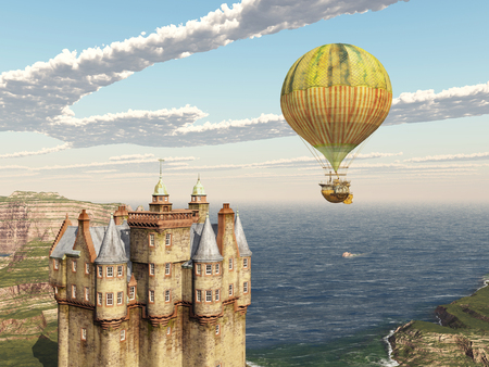 blue sky with clouds: Scottish castle and fantasy hot air balloon Stock Photo