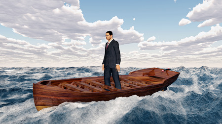 Businessman in a boat in the stormy sea Stock Photo
