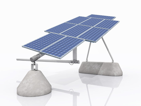 electricity prices: Solar panel against a white background