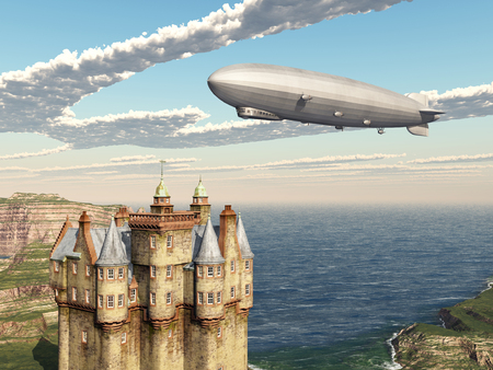 fortification: Scottish castle and airship
