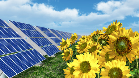 Solar panels and sunflowers Stock Photo