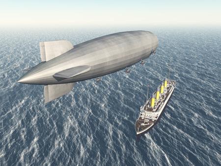 blimp: Airship and ocean liner