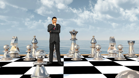 Businessman on a chessboard
