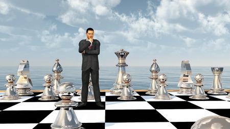 Businessman on a chessboard