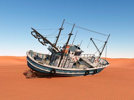 shrimp boat: Stranded trawler Stock Photo