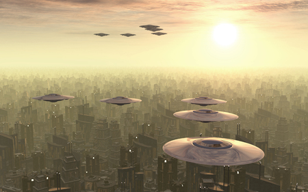 megacity: Flying saucers over a megacity