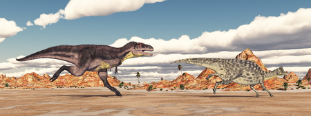 gigantic: Tyrannotitan attacks Velafrons Stock Photo