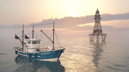 fishing vessel: Fishing trawler and lighthouse