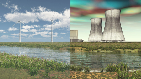 fission: Renewable energy vs. nuclear energy Stock Photo