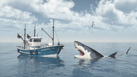 shrimp boat: Fishing trawler and great white shark