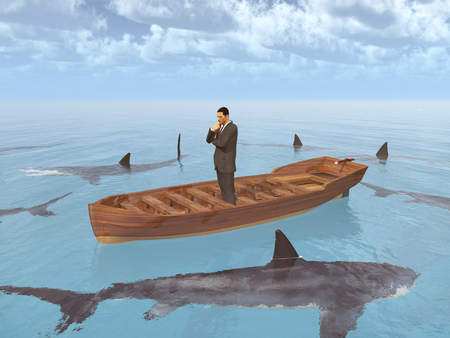 mobbing: Businessman in a boat surrounded by sharks