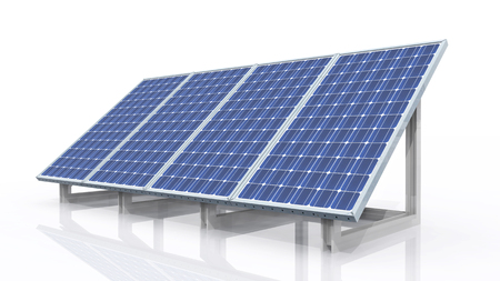 Solar panel against a white background