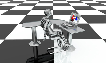 checkerboard: Female robot, desk and laptop on a checkerboard pattern