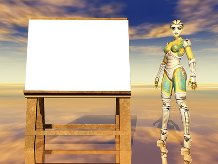 performance art: Easel and female robot