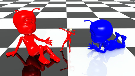 virtual sculpture: Alien characters and woman on a checkerboard pattern