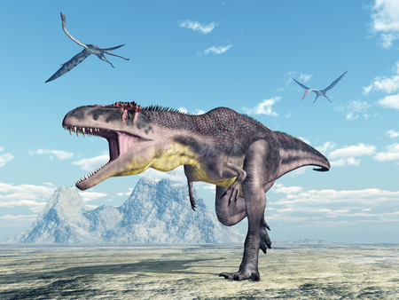 pterosaur: Dinosaur Tyrannotitan and pterosaur Quetzalcoatlus Stock Photo