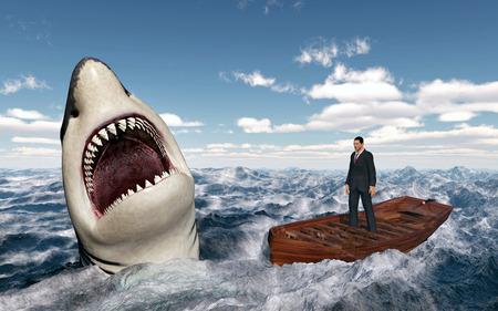 Businessman in a boat in the stormy sea and great white shark