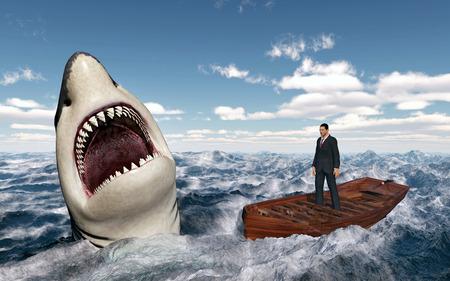 barche: Uomo d'affari in una barca nel mare in tempesta e grande squalo bianco Archivio Fotografico