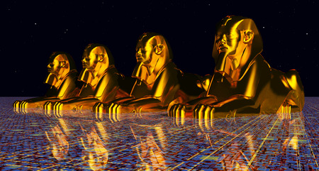 Sphinxes, statues of a male lion