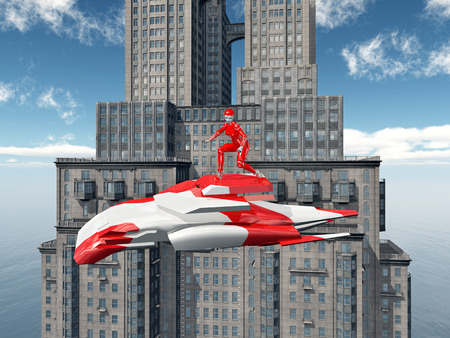 air vehicle: Female robot on an air vehicle and skyscraper Stock Photo