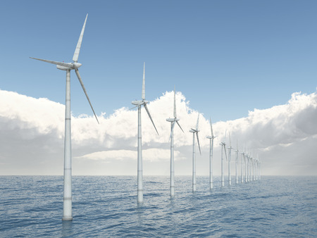electricity prices: Offshore wind power Stock Photo