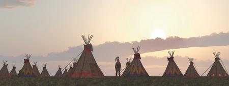 plains indian: Indian camp at dusk