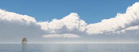sailing ship: Sailing ship in the distance