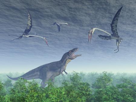 pterosaur: Dinosaur Tyrannotitan attacks pterosaur Quetzalcoatlus