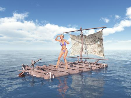 いかだに乗って女性 写真素材 - 64601947