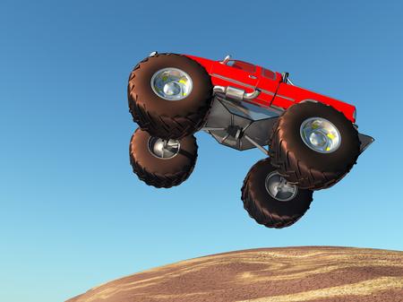 Monster truck against a blue sky