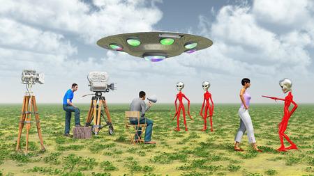 ?flying saucer?: equipo de la película, platillo volante y extranjeros Foto de archivo