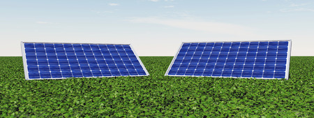 electricity prices: Solar panels Stock Photo