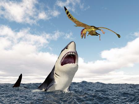 pterosaur: Shark attacks the pterosaur Peteinosaurus Stock Photo
