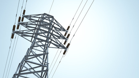 transmission line: Overhead power line Stock Photo