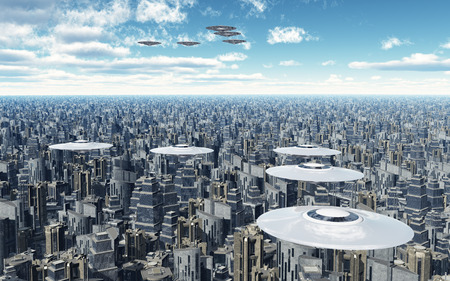 aerial view: Flying saucers over a megacity
