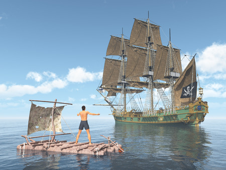 privateer: Man on a raft and pirate ship Stock Photo