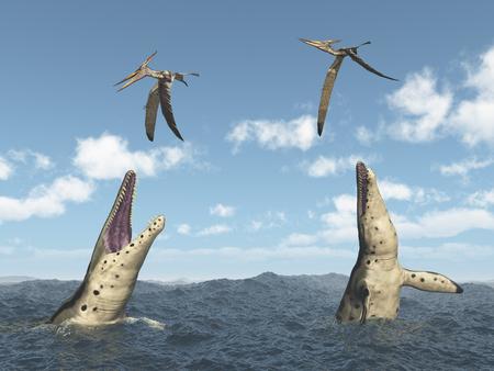 pteranodon: Kronosaurus attacks Pteranodon