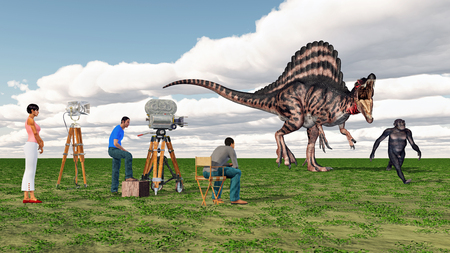 Movie crew, Spinosaurus and Homo Habilis