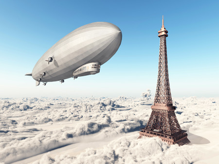 airship: Zeppelin and Eiffel Tower over the clouds