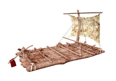 Raft isolated on white background