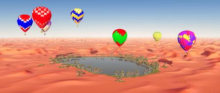 Hot air balloons over a desert oasis