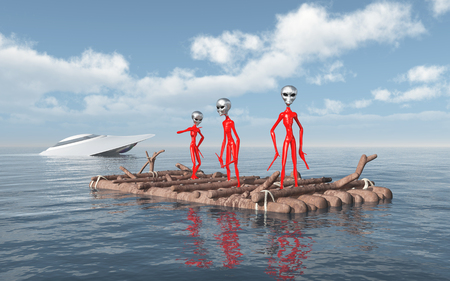 Crashed spaceship and aliens on a raft