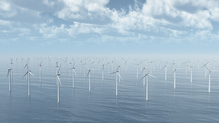electricity prices: Masses of wind turbines Stock Photo