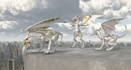 gargoyles: Gargoyles over a big city