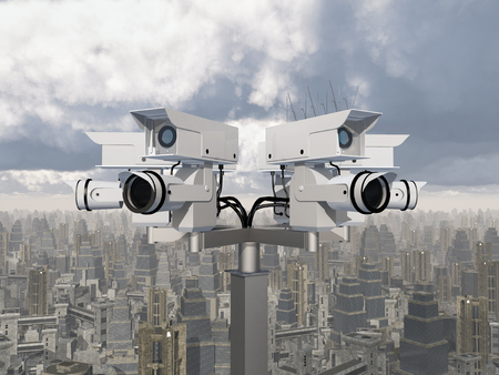 surveillance camera: Surveillance camera over a city