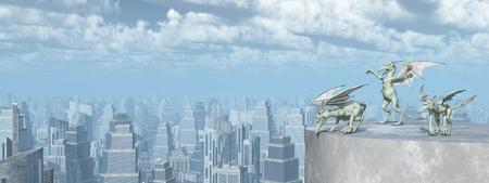 Gargoyles over a big city