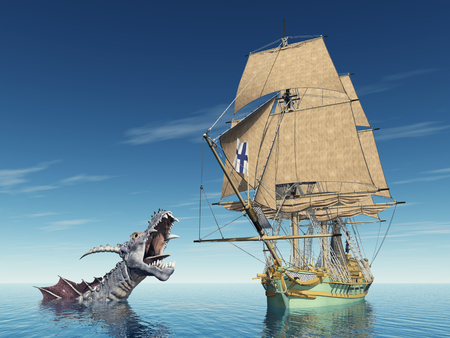 sea monster: Sea monster and sailing ship Stock Photo