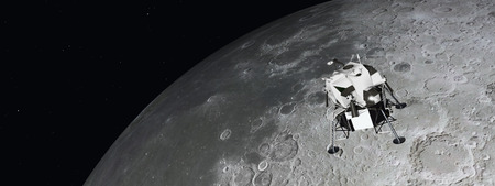 cosmology: Lunar Module near the moon Stock Photo